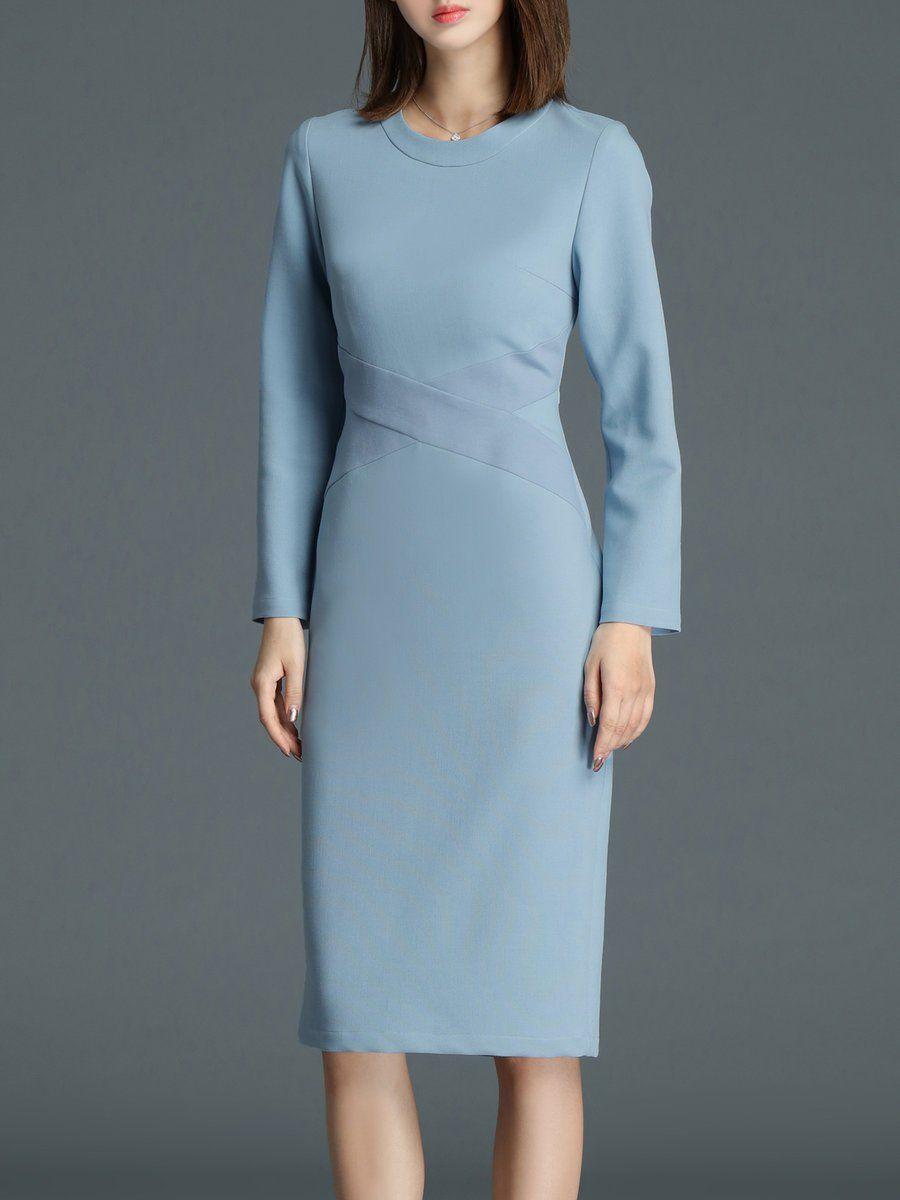 b290ea7b3a64 Shop Midi Dresses - Long Sleeve Sheath Elegant Work Dress online. Discover  unique designers fashion at StyleWe.com.