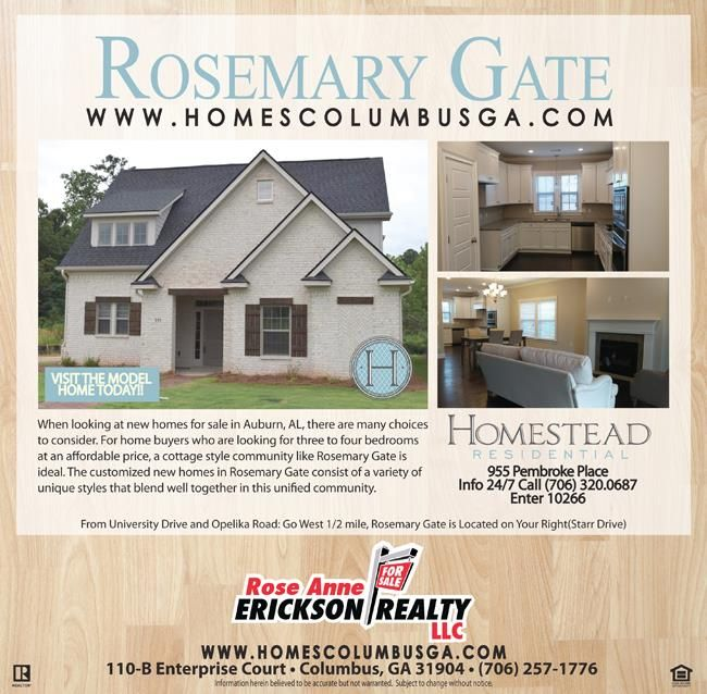 Rosemary Gate in the Heart of Auburn AL! Homes for Sale