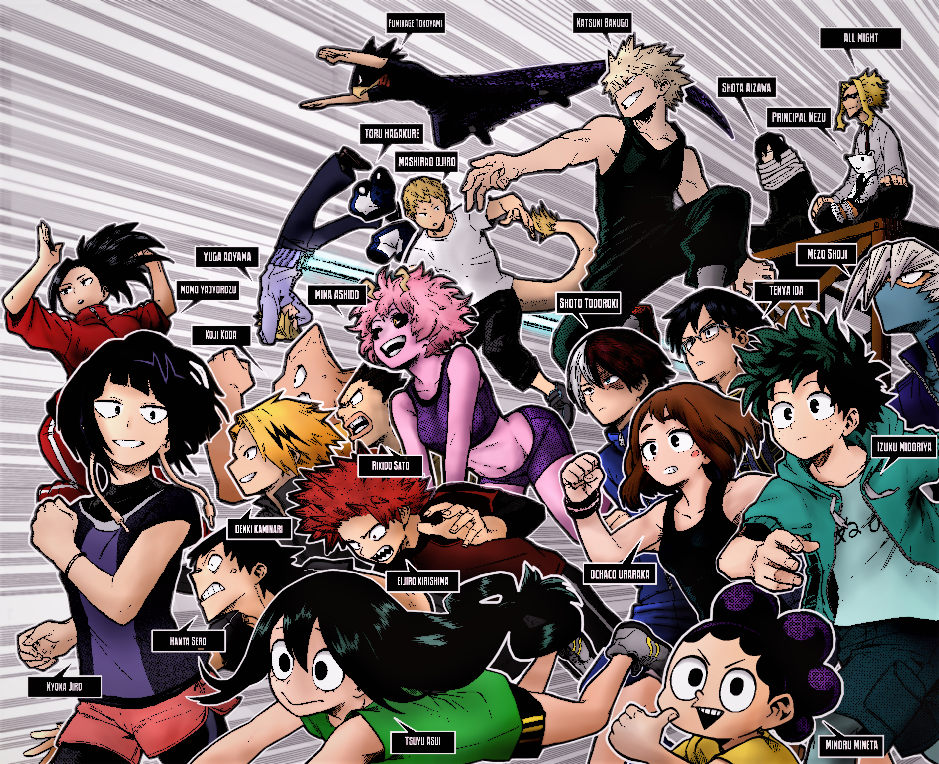 U A High School Class 1 A Manga To Color By Me Bokunoheroacademia My Hero Anime My Hero Academia Episodes