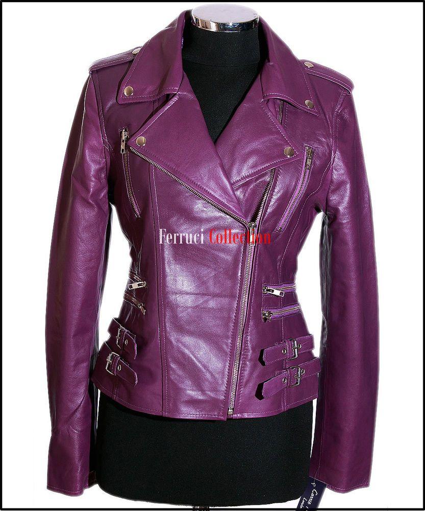 Ladies DOMINO Blue Washed Rockstar Women Real Studded Leather Biker Jacket 4326