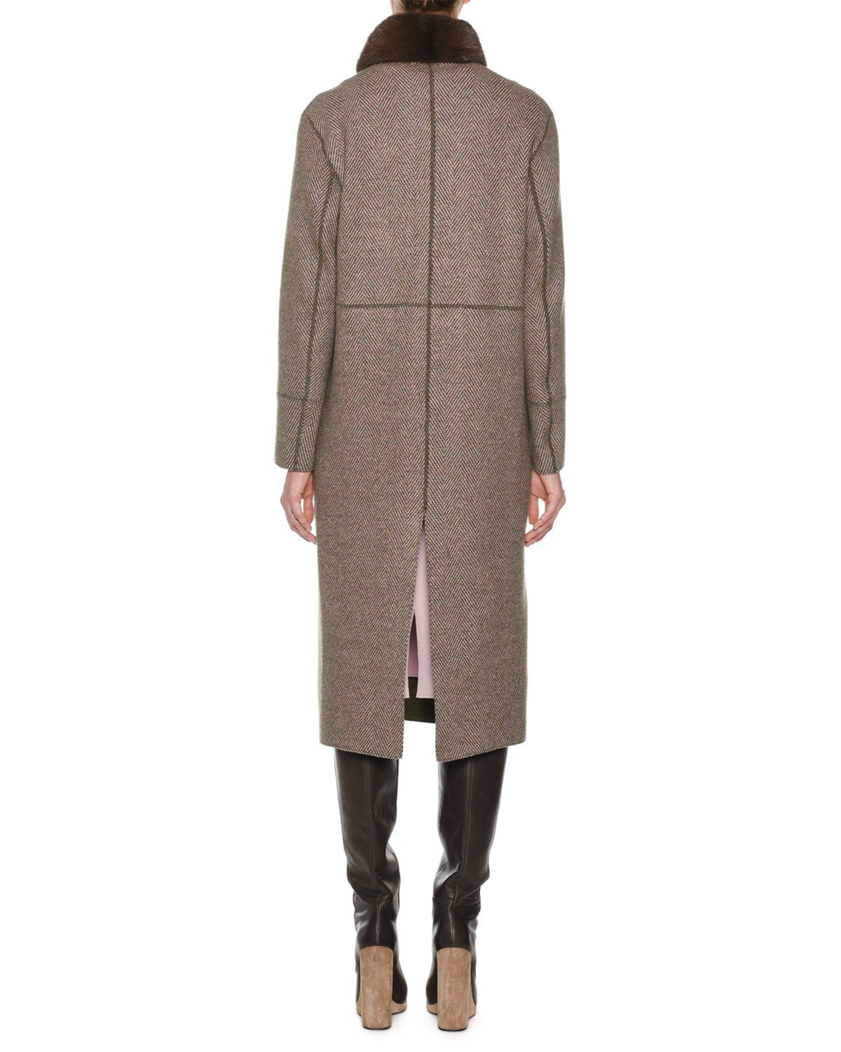 b4da44ca3e Agnona Double-Breasted Herringbone Cashmere Military Coat with Fur Collar