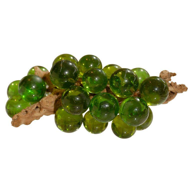Vintage Glass Grape Cluster Lucite Green Vintage Memory My Childhood Memories