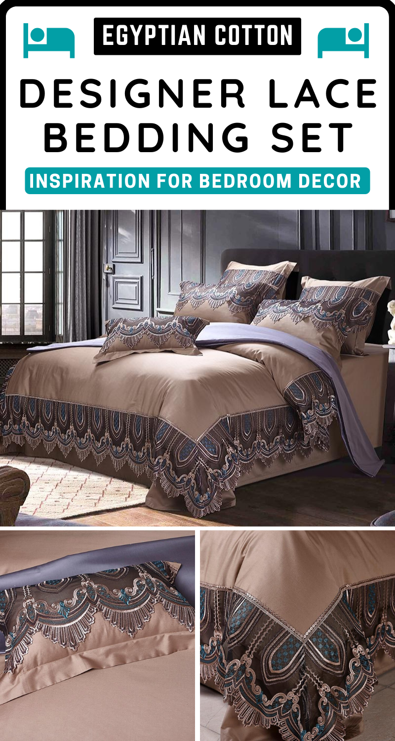 Egyptian Cotton Luxury Lace Brown Duvet in 2020 Easy
