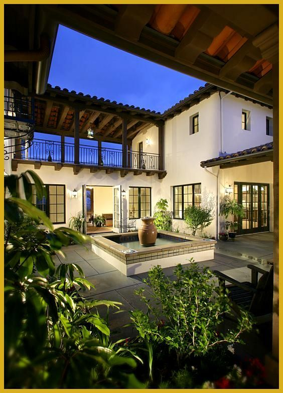 55 Stunning Courtyard Ideas Modern 038 Traditional The Mood Palette If You Are Looking For Some Amaz In 2020 With Images Courtyard Design Spanish Style Homes Terraced Patio Ideas