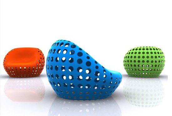 sillas material reciclable llamadas Porous