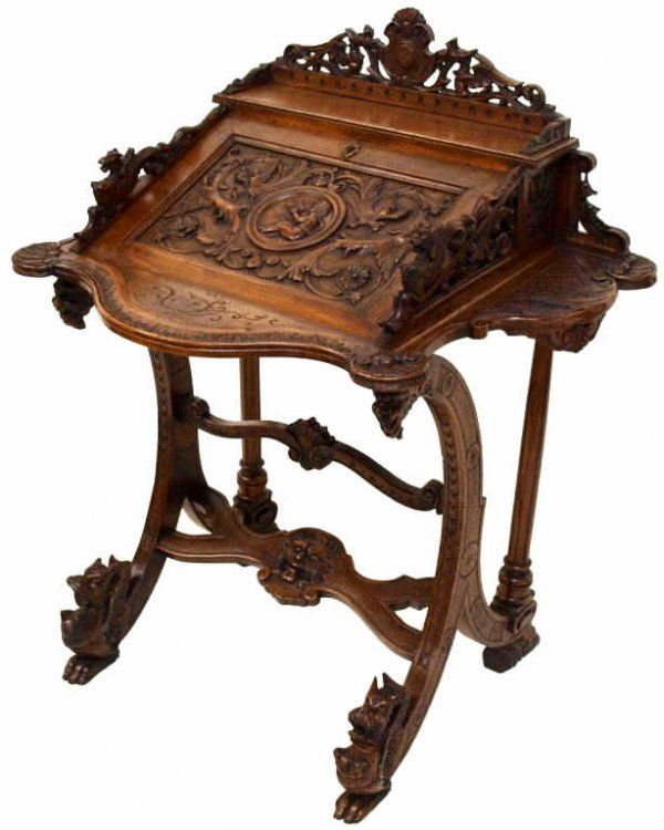 Ornate Antique French Rococo Revival Writing Desk C 1900 Wooden Secretary With Intricate