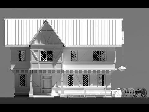 Blender 3d Speed Modeling Rpg House Exterior Youtube