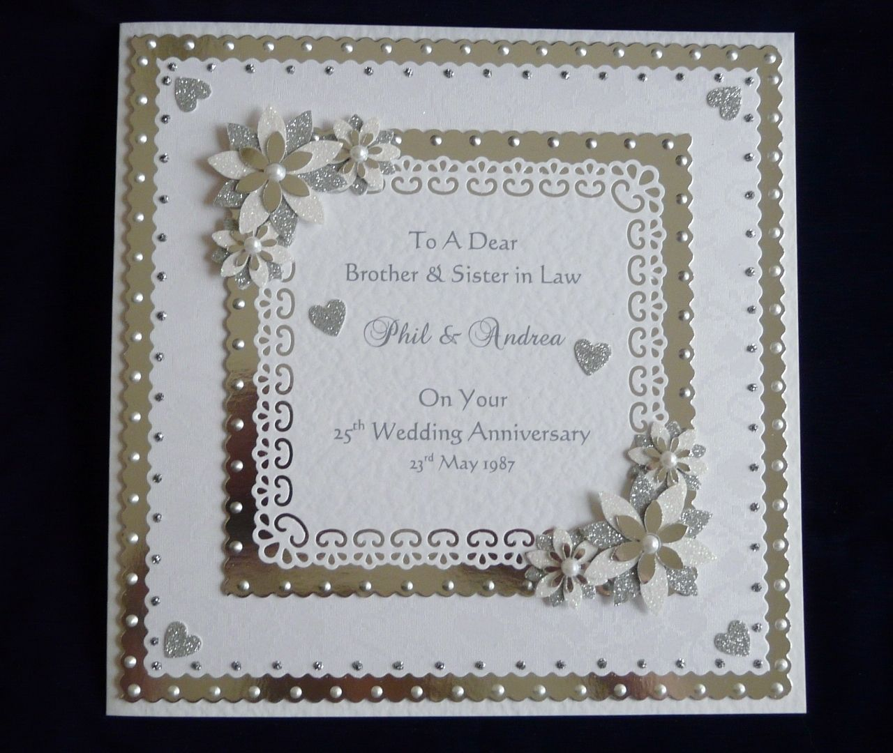 25th/60th Silver or Diamond Wedding Anniversary Card Large ...