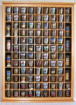 100 Shot Glass Display Case Cabinet, With Hinged Door, 10
