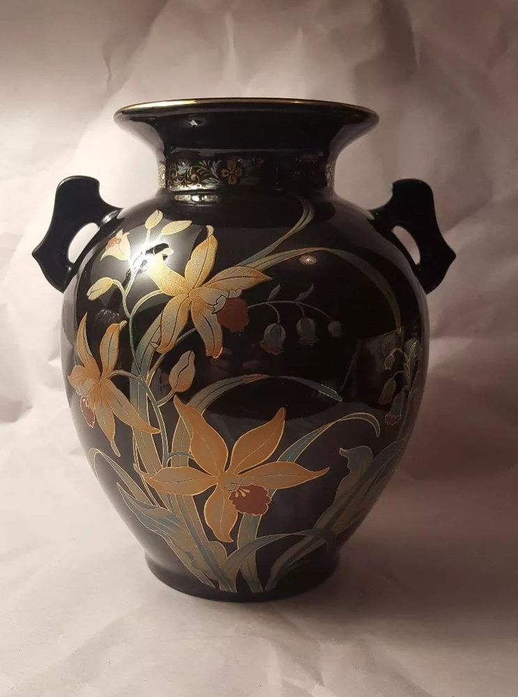 Fine China Vase Narcissus Lily Of The Valley Black Gold Accent Two