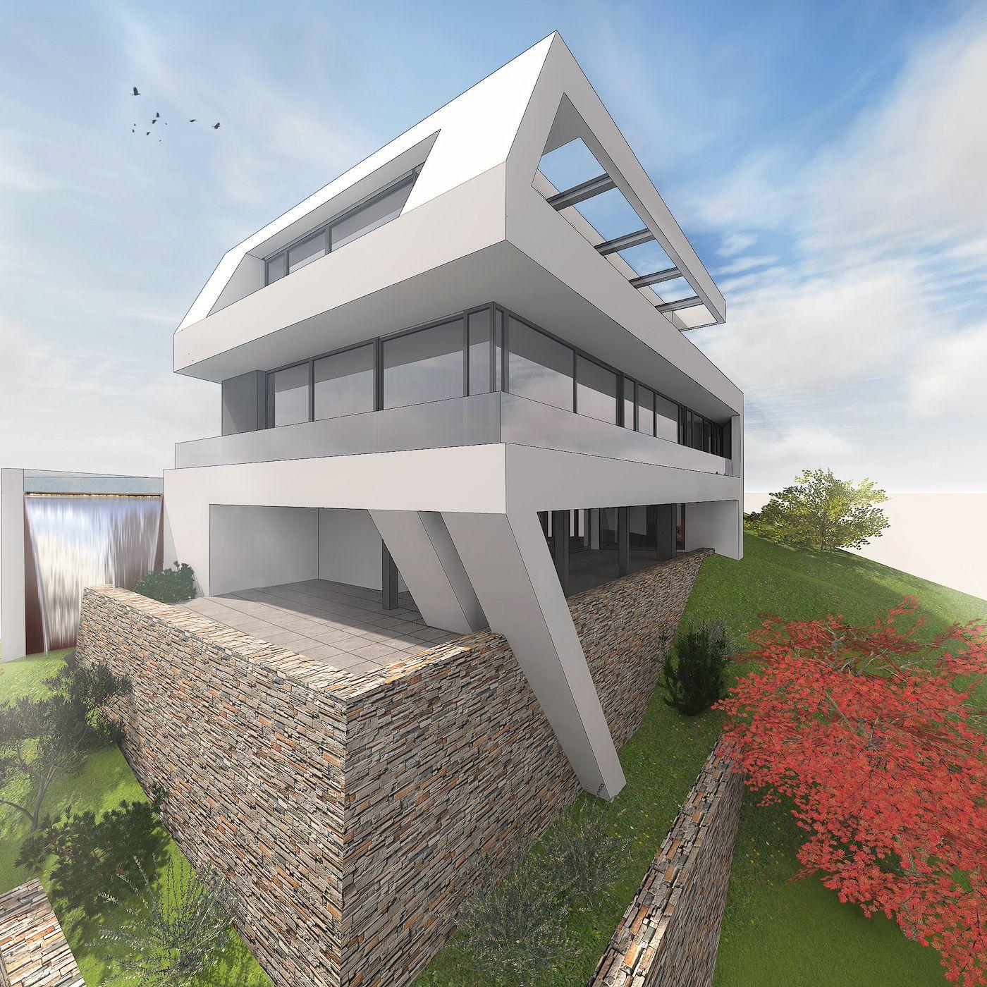 modernes wohnhaus am hang by. Black Bedroom Furniture Sets. Home Design Ideas