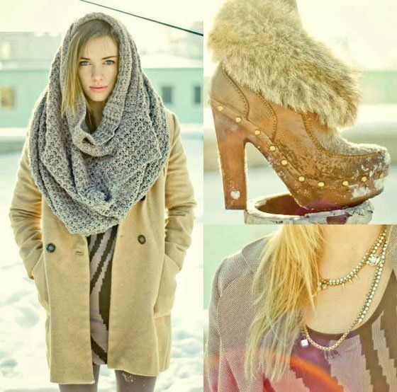 ok keep the shoes and the whatever necklace but gimme that giant scarf! I could hide in there.