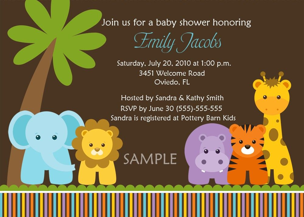 jungle safari wild animals baby shower birth announcement or birthday