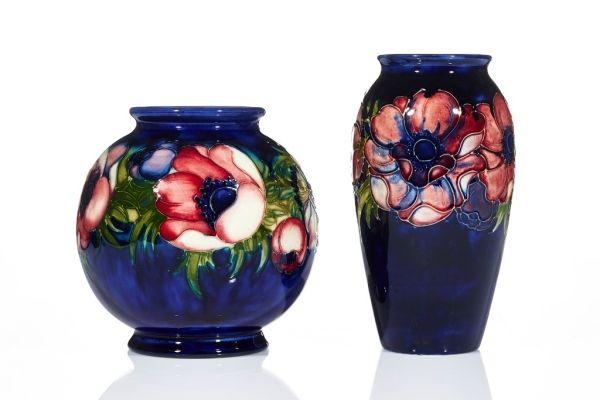 Walter Moorcroft Two Vases C 1950 Moorcroft Pottery Walter