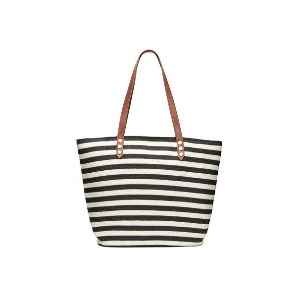 Women's San Diego Hat Company Stripe Tote Bag with PU Trim BSB1350... ($38) ❤ liked on Polyvore featuring bags, handbags, tote bags, white tote, white tote bag, white handbags, shoulder bag tote and shoulder handbags