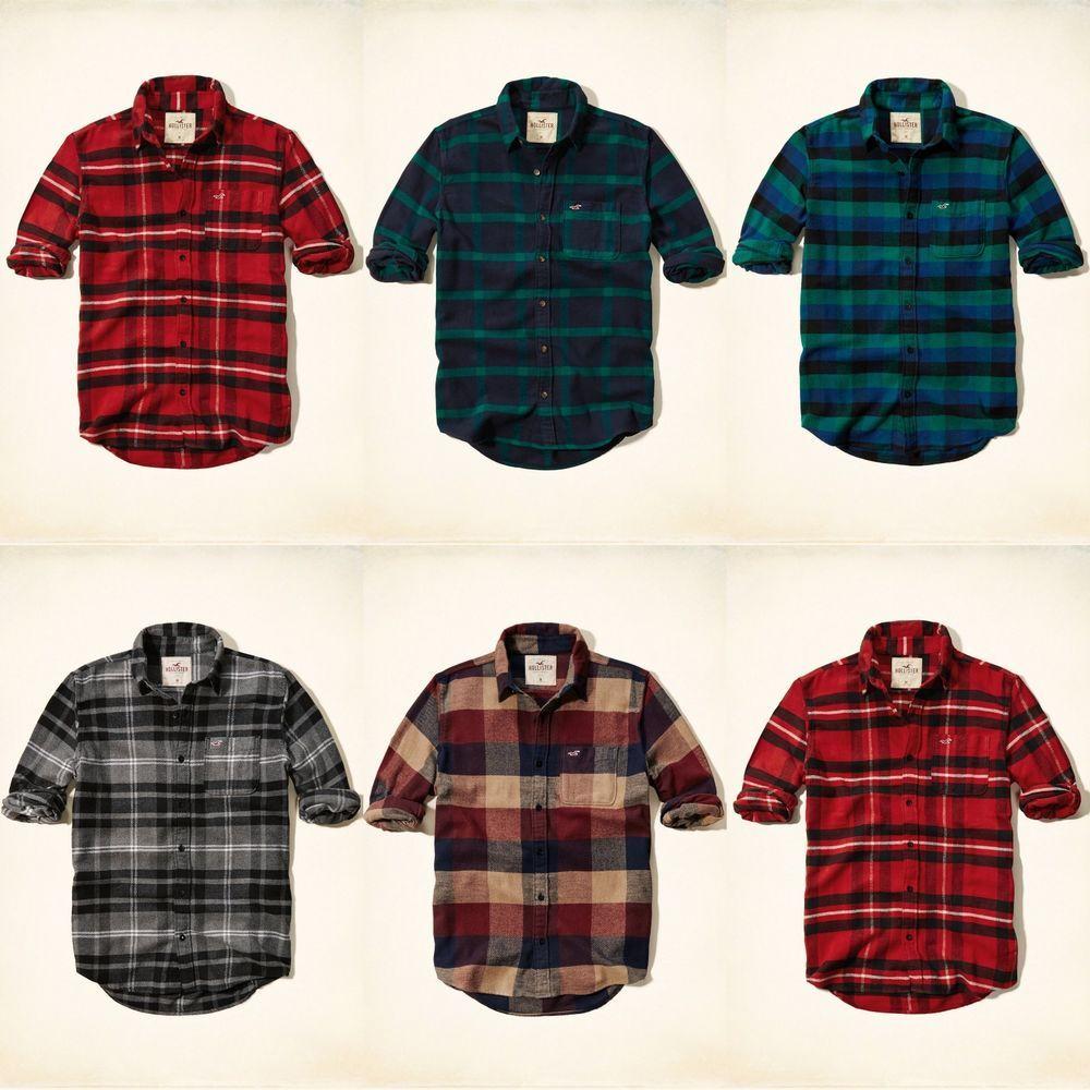Shirt design new 2014 - Nwt Hollister By Abercrombie Mens Shirt Flannel Plaid Sz S M L Xl