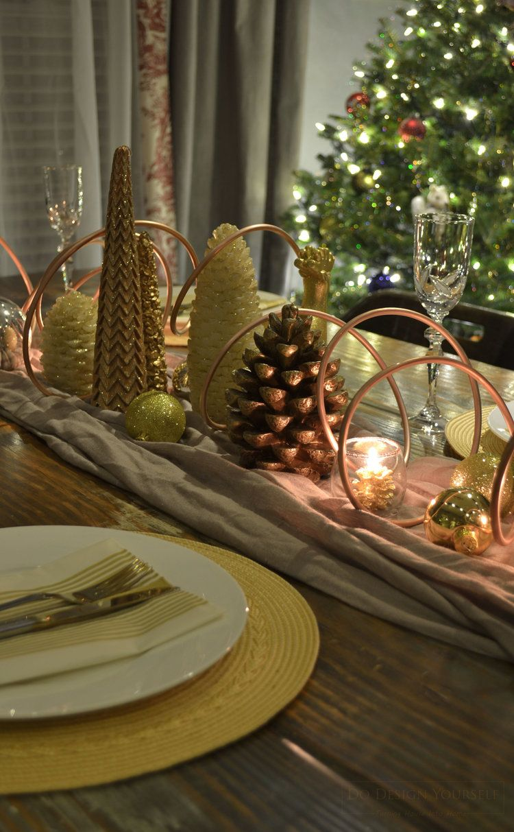 Effortless Christmas Decor Idea Rose Gold Christmas Table Christmas Table Decorations Rose Gold Christmas