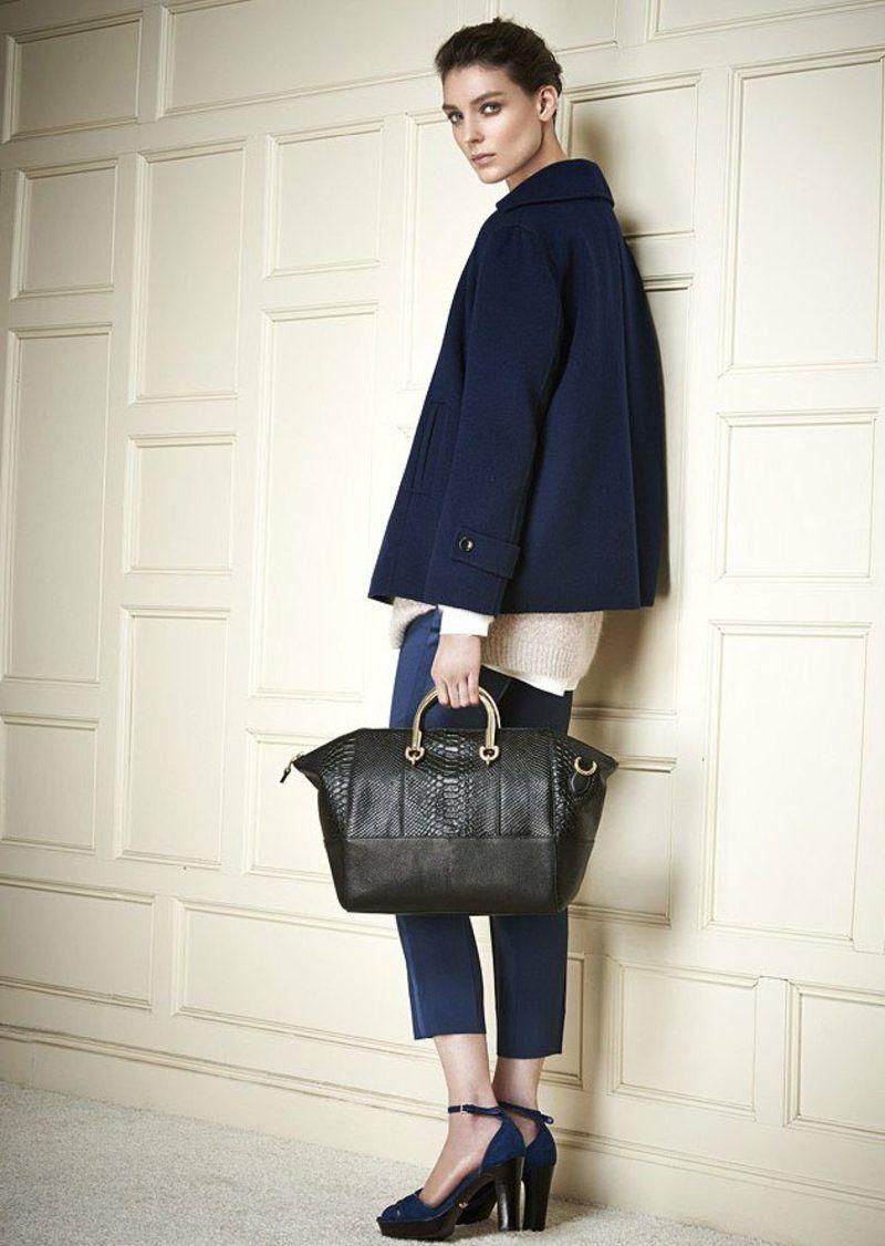bfeaf5d91e6bbb Damenmode Business Casual Outfit eleganter Mantel und Hose in Dunkelblau