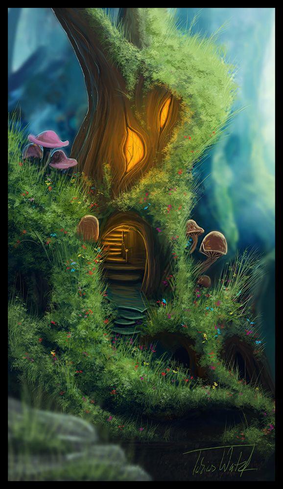 Forest Home 絵画アート ファンタジー ファンタジーアート