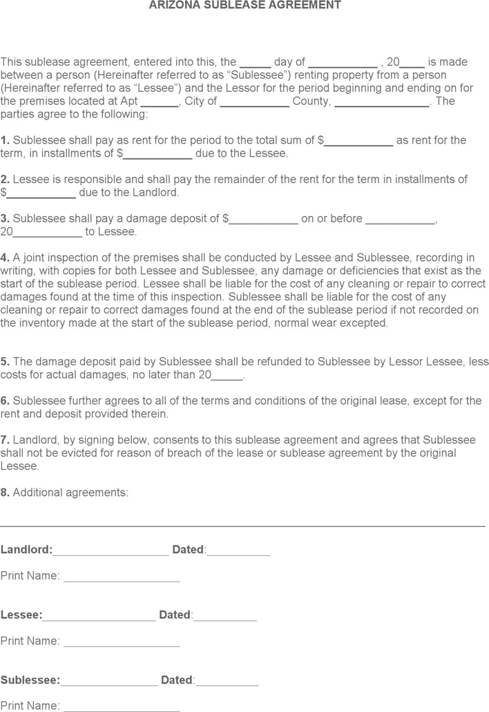 Arizona Sublease Agreement Form Download Free Printable