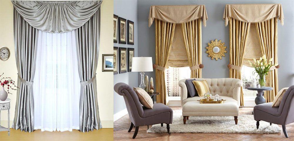 интересные сочетания ламбрекенов со шторами и стилем интерьера