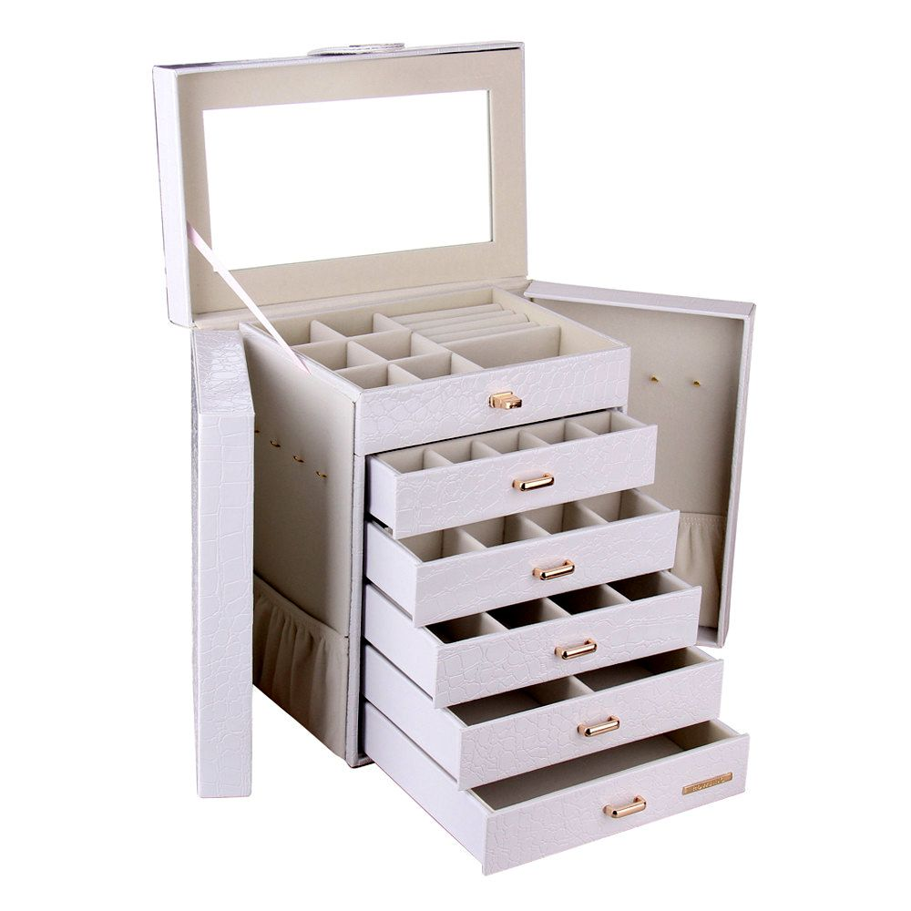 White Black Extra Large 6 Drawer Jewelry Box Leather jewelry box
