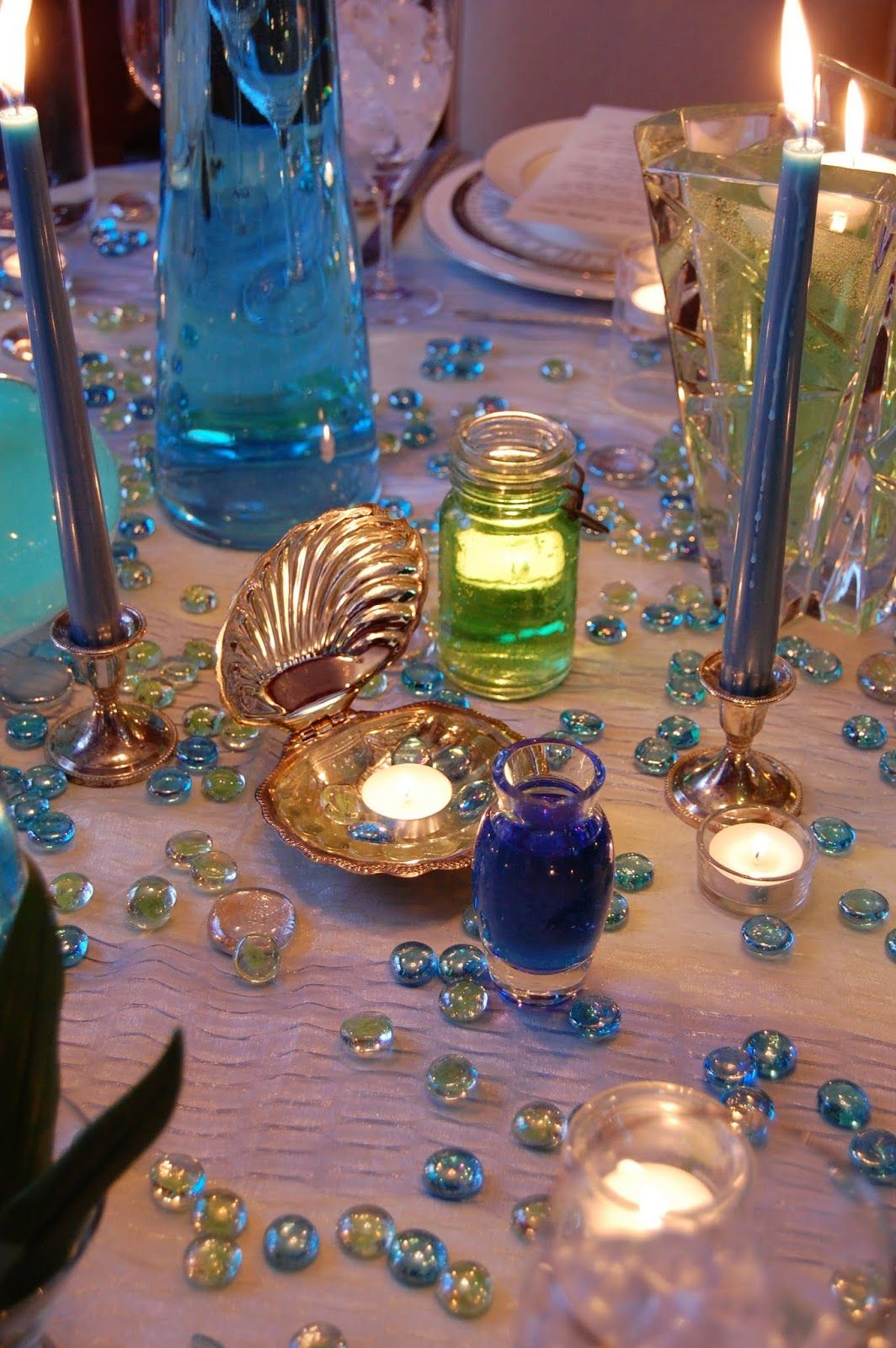 Sea Glass Tablescape    Food, Earth, Friends, Wine: Birthday Evening and Spring's Procession