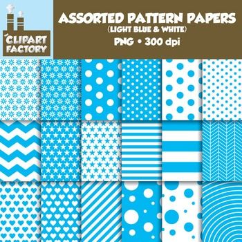 A collection of digital papers in various different patterns that can be used for backgrounds and a variety of other purposes. This pack includes:  - 18 Different patterns - Images are sized for 8.5x11 - 300 dpi files - PNG Format  This product was created for personal and commercial use.