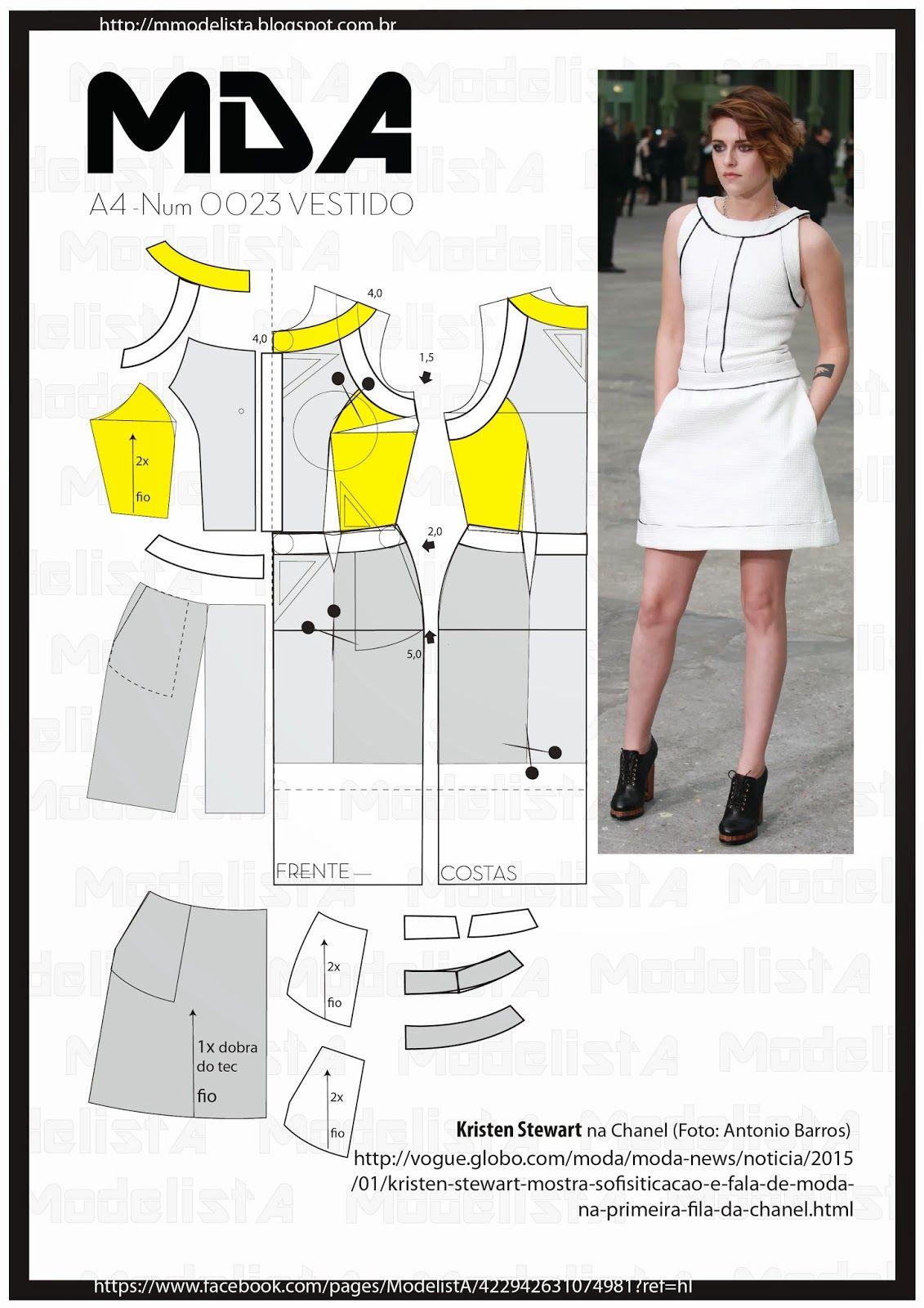 A4 - NUM - 0023 - VESTIDO | Proyectos de costura, Molduras y Costura