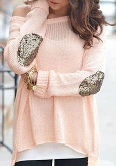 Roze Glitter Trui.Pink Glitter Sequin Elbow Off Shoulder Dolman Long Sleeve Casual