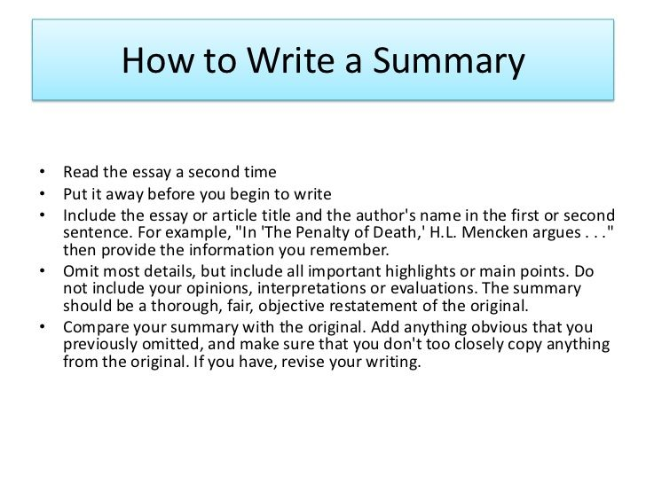 how to write a summary paper on an article