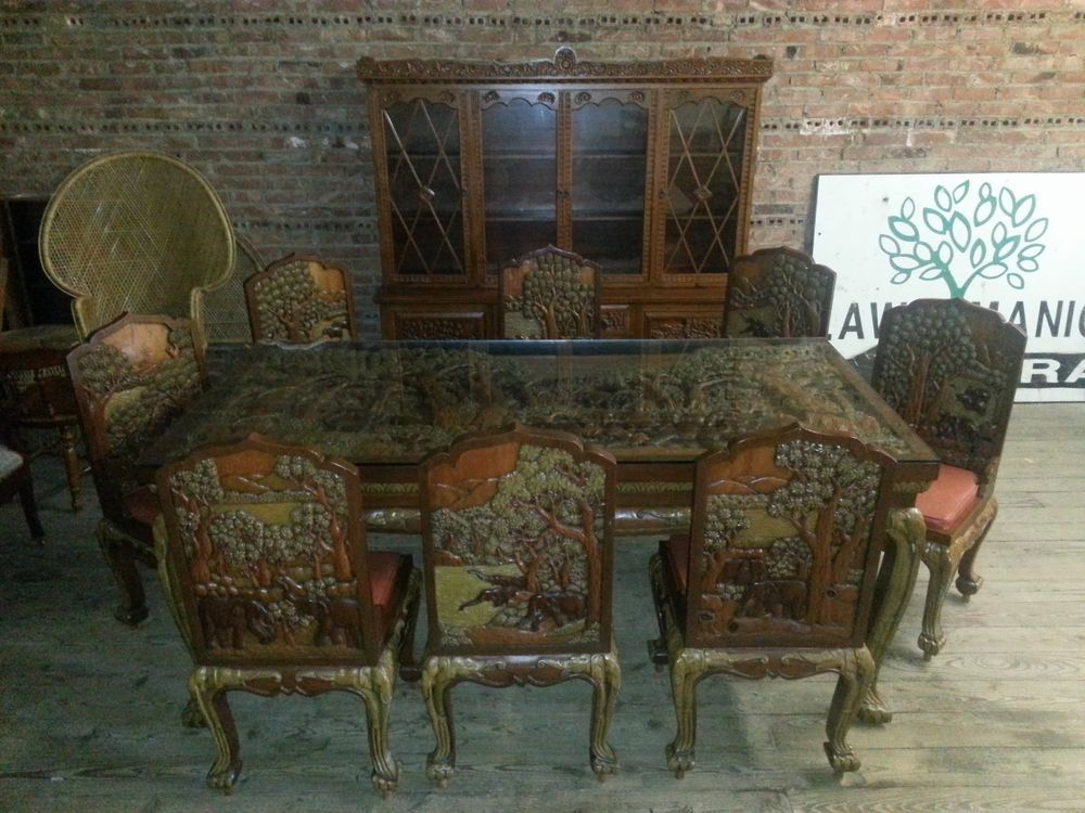Vietnamese Hand Carved Teak Wood GRAND Dining Table W Chairs U0026 Hutch  ELEPHANTS! US $22,496.96 In Antiques, Furniture ...