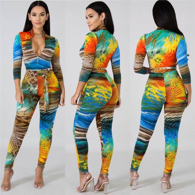 e5f819996403 Plus Size S XXL Overalls 2019 Winter Women Multi Print Big Jumpsuit Zipper Turtleneck  Long Sleeve
