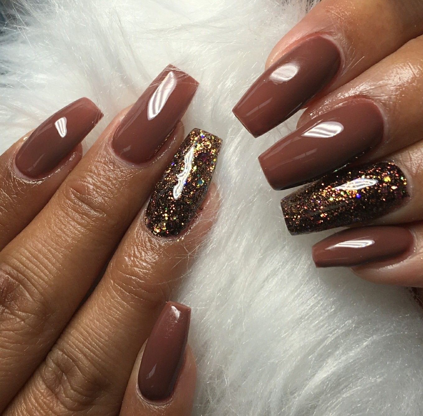 Brown and gold nails gold glitter nails acrylic nails gel nails
