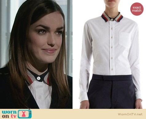 Jemma's white shirt with striped collar on Agents of SHIELD.  Outfit Details: http://wornontv.net/25471/ #AgentsofSHIELD
