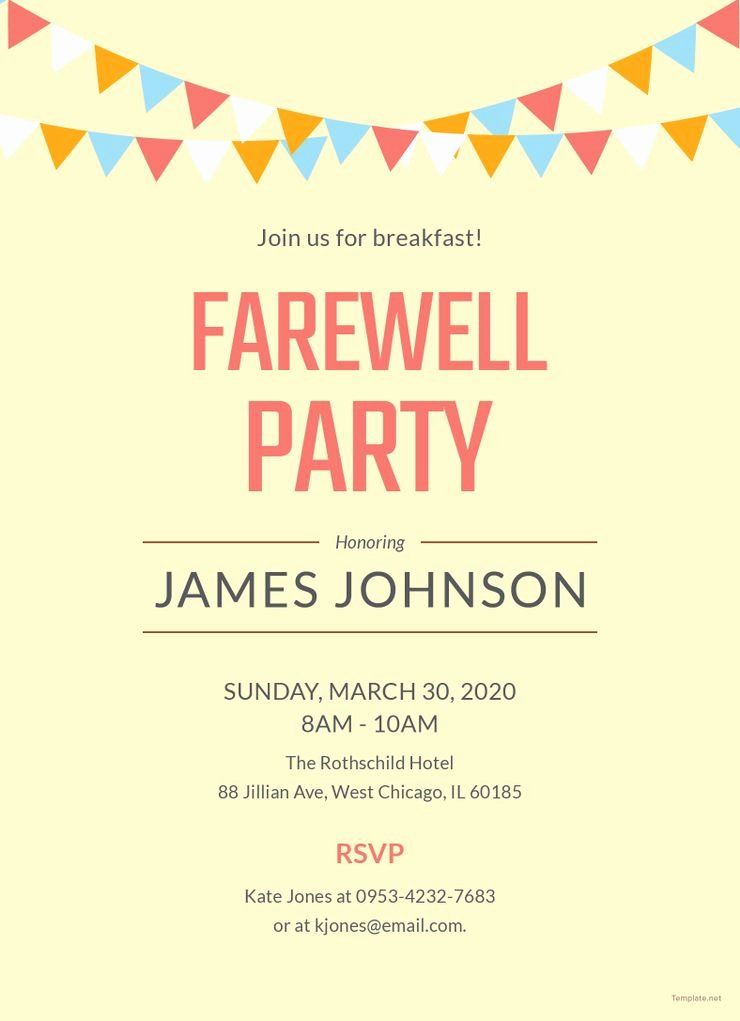 Farewell Party Invitations Templates Luxury Free Farewell Breakfast Party Invitation Party Invite Template Farewell Party Invitations Invitation Templates Word