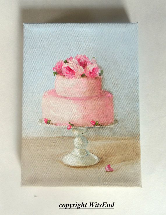 Rosy Cake painting original ooak art Dainty Cakes Series by 4WitsEnd, via Etsy