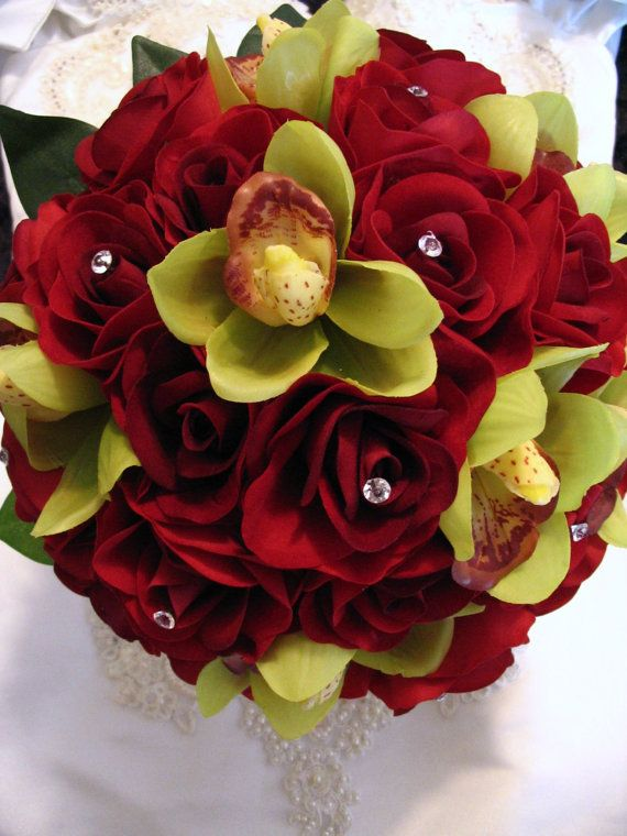 Real touch green orchid red rose wedding flowers bouquet | Weddings ...