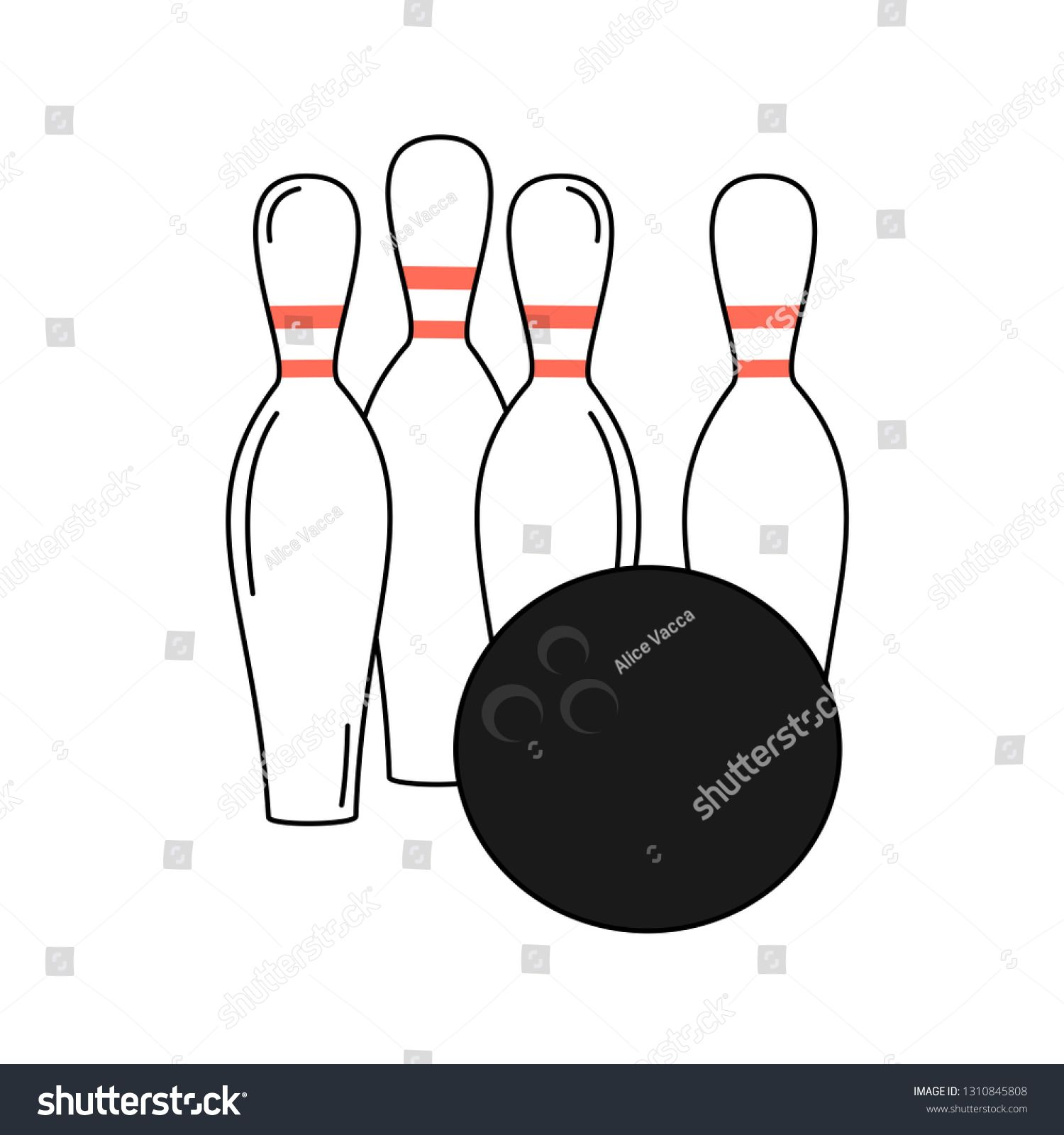 Cute Cartoon Vector Bowling Ball And Pins Isolated On White Background Ad Affiliate Vector Bowling Cute Cartoons Vector Business Card Modern Cute Cartoon