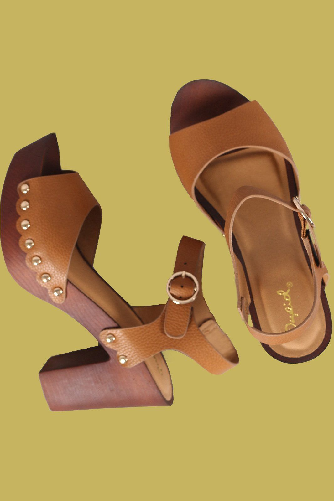 09009aa4ed3 Qupid Peep Toe Studded Faux Wooden Chunky Platform Heel
