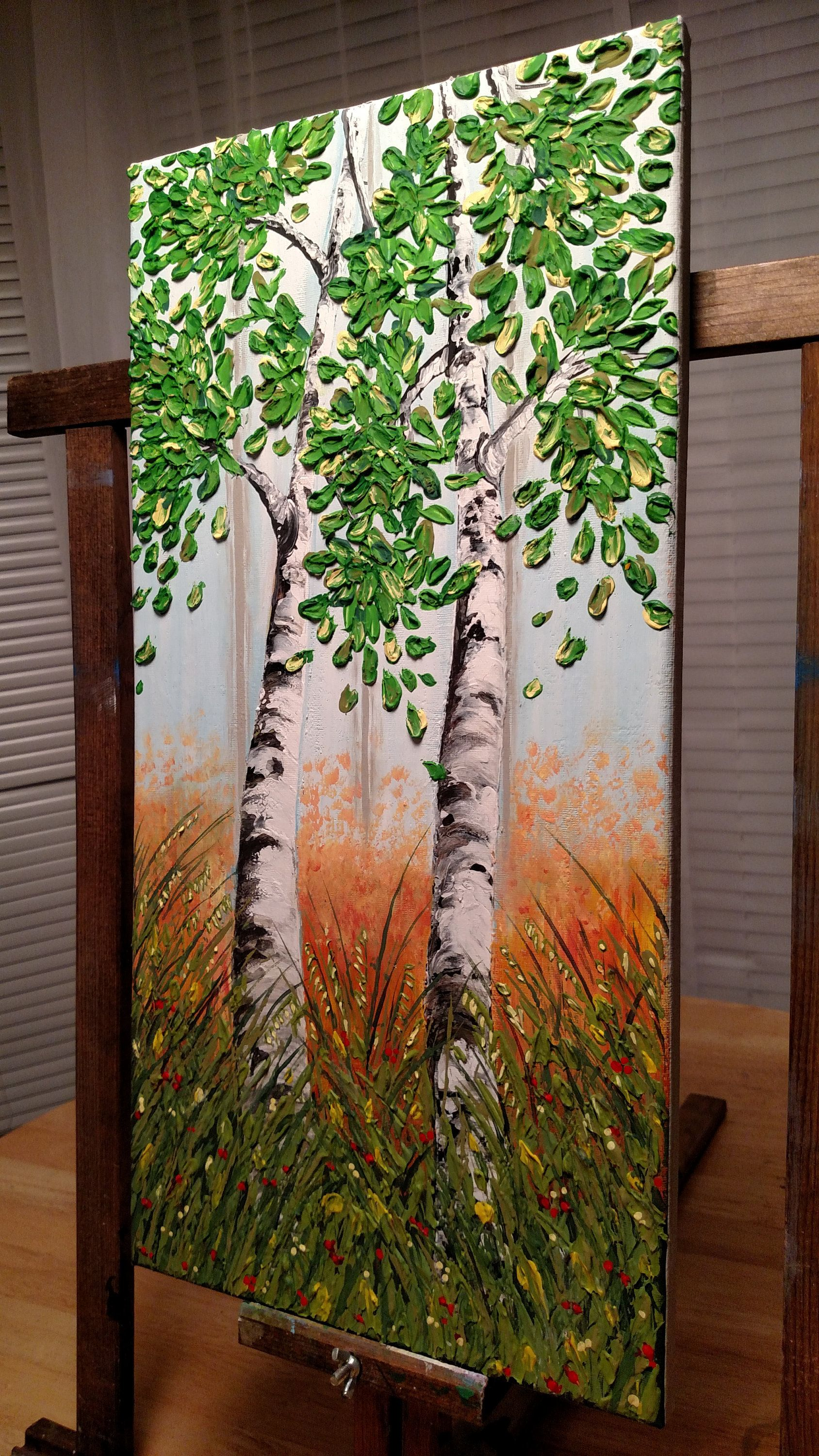Acrylic Original Textured Birch Trees Canvas Painting Wall Art By HarmonyArt23 On Etsy