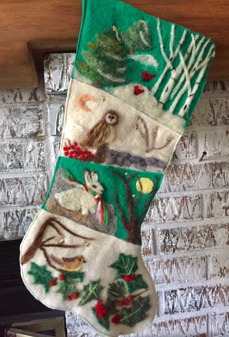 Needle Felted Nature Christmas Stocking With Owl Bunny And Etsy Christmas Stockings Felt Christmas Stockings Felt Christmas Ornaments