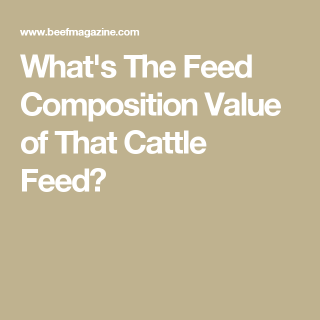 What's The Feed Composition Value of That Cattle Feed