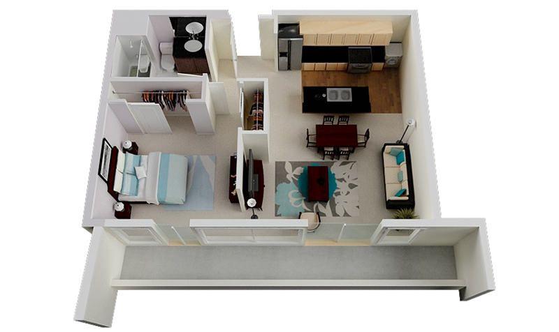 Plantas de apartamento de um quarto Departamentos y Planos - departamento de soltero moderno pequeo