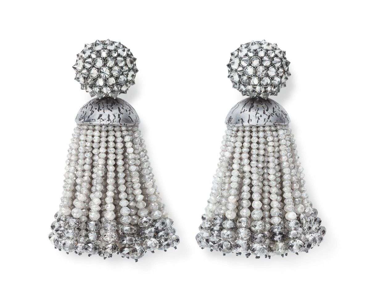 Hemmerle earrings, fancy grey diamonds, iron, white gold