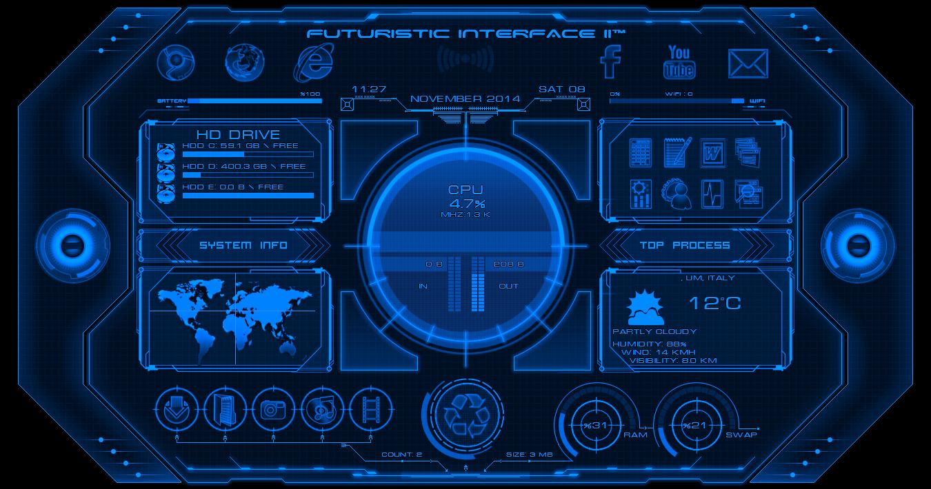 Alienbyte Futuristic Interface II Widget For Rainmeter