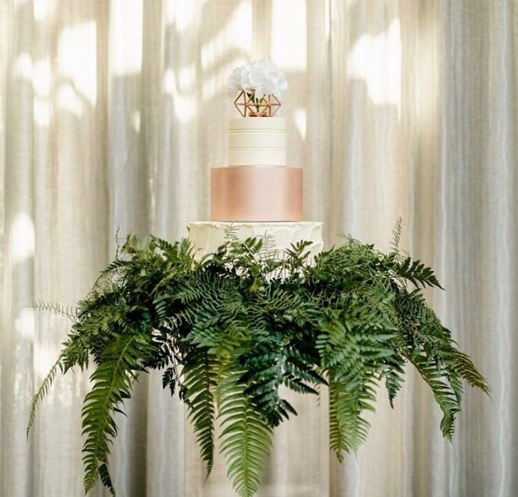 Show stopper green fern accented cake   Table decorations ...