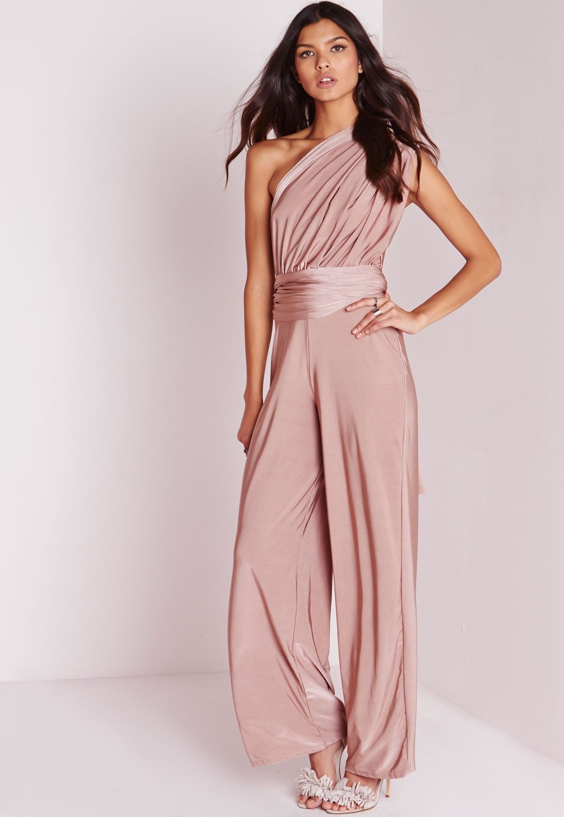 Do It Anyway Multiway Slinky Jumpsuit Pink - Jumpsuits - Missguided ...
