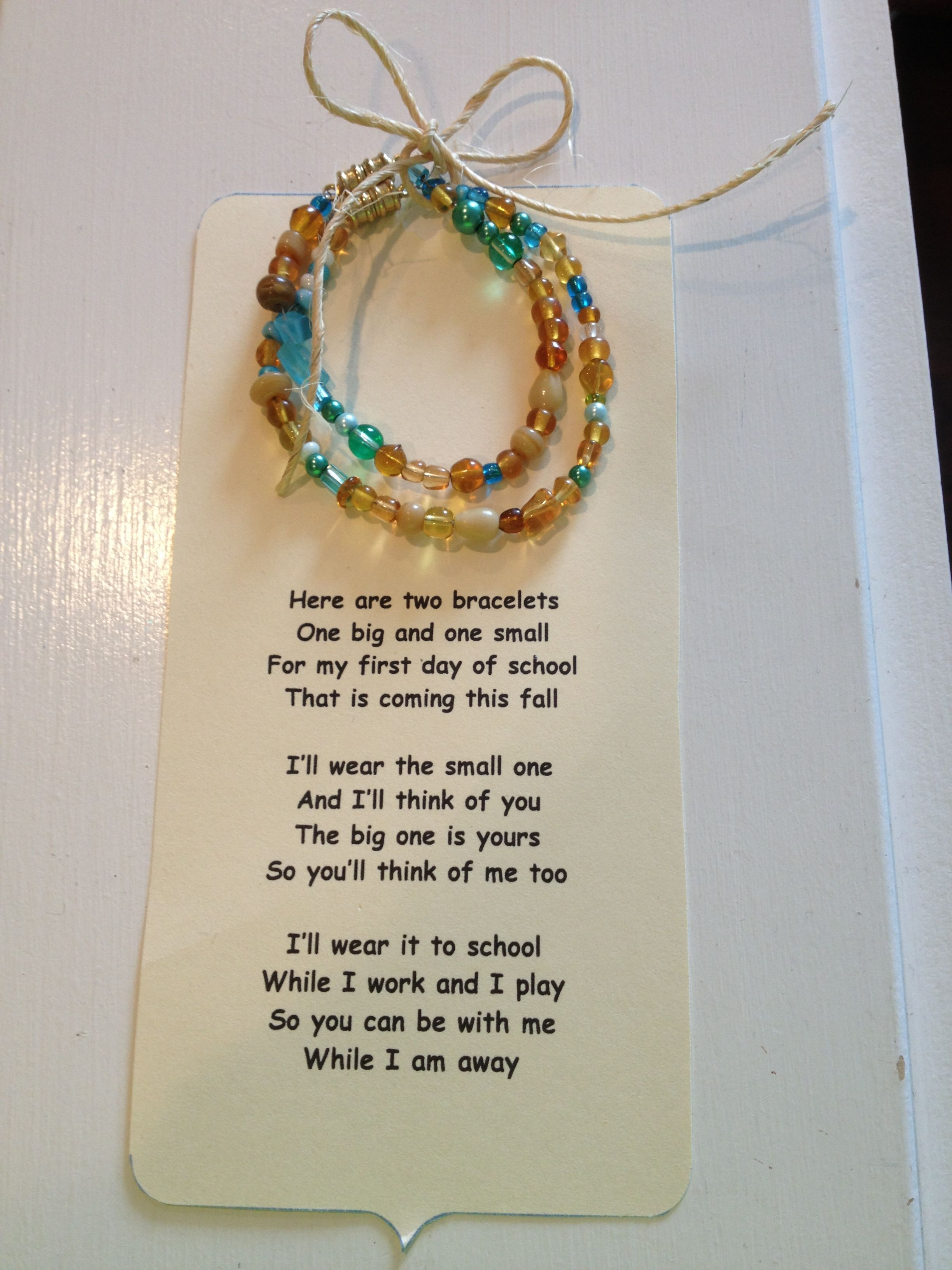 Kindergarten Mommy And Me Bracelets Ts From The Child