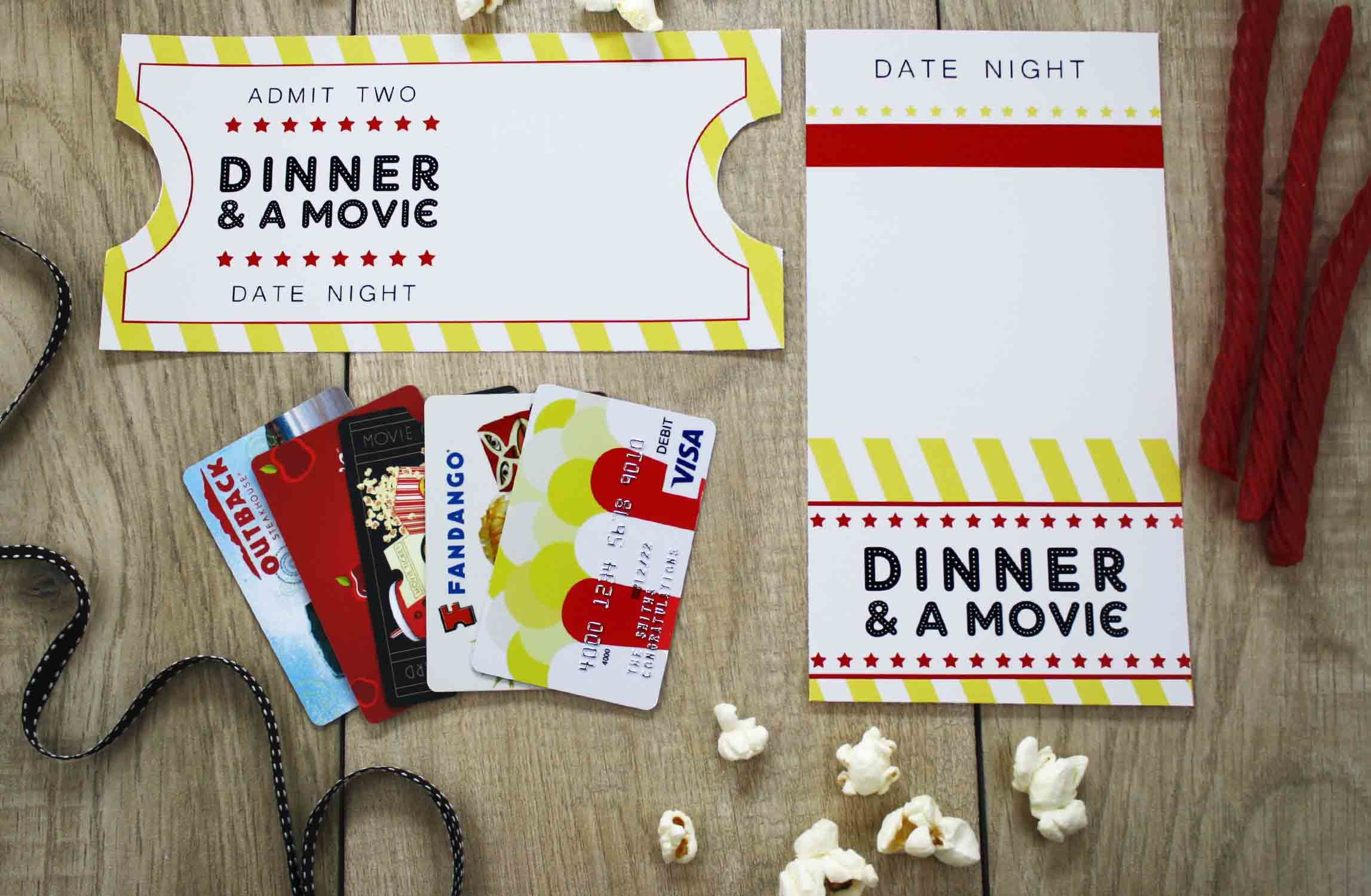 {Free Printable} Give DATE NIGHT for a Wedding Gift Gift